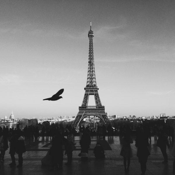 Menschen vor dem Eiffelturm in schwarz-weiß