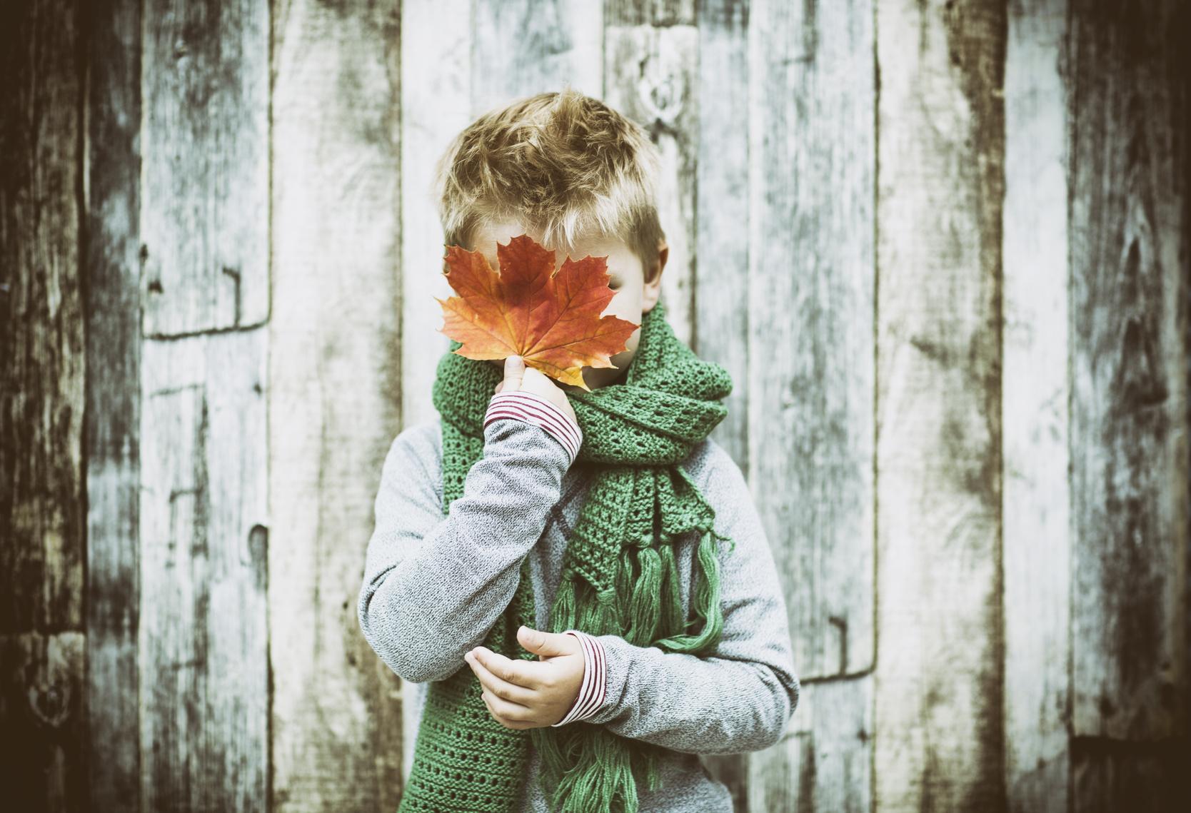 Kleiner Junge vor einer Bretterwand hält sich ein braunes Ahornblatt vors Gesicht.