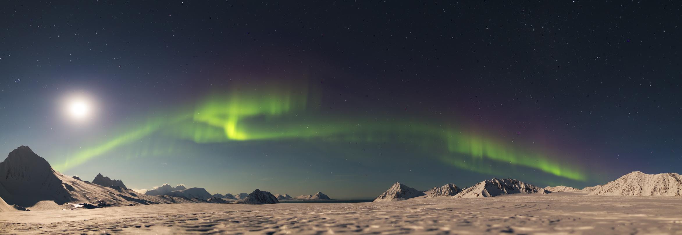 Nordlichter am Nachthimmel (Aurora borealis)
