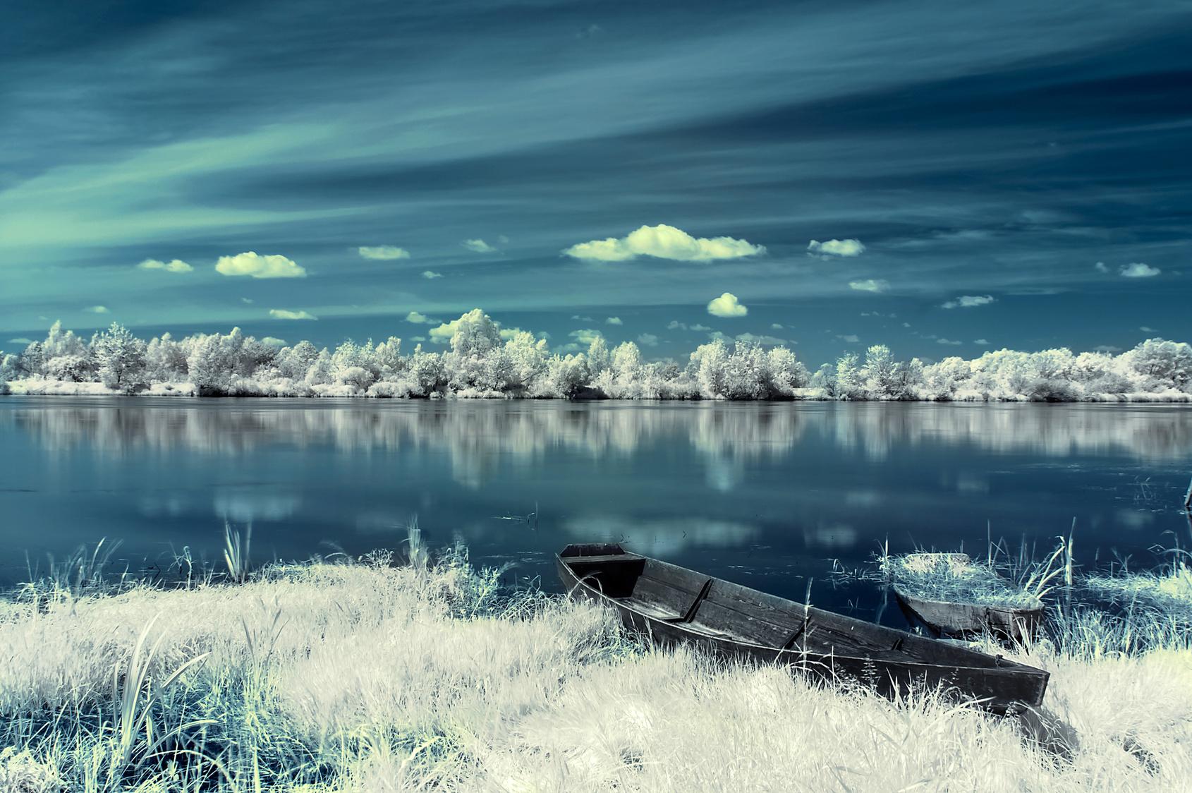 Ein Boot in weißem Gras am Seeufer. Der dunkelblaue Himmel spiegelt sich im Wasser.