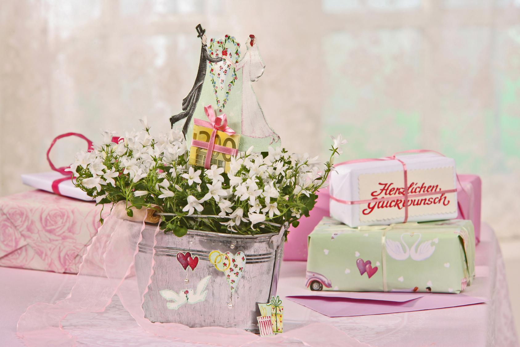 Blumentopf mit weißen Blüten steht neben zwei eingepackten Geschenken