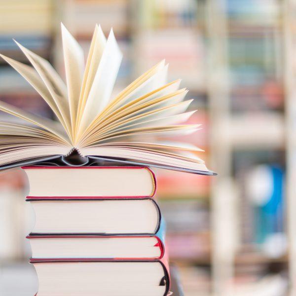 Stapel mit Büchern vor Bücherregal im Hintergrund.