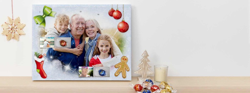 Selbstgestalteter Adventskalender mit Großeltern